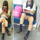 【Pcolle】ガチかヤラセか?電車でJKの対面パンチラ!