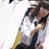 【Pcolle】美少女JKのピンクサテンパンツ逆さ撮り盗撮!