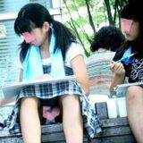 【Pcolle】お絵描き中のJSちゃん、座りパンチラ丸見え盗撮!