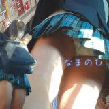 【Pcolle】安定の顔有り青チェ生パン逆さ撮り!