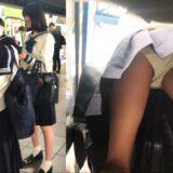 【Pcolle】セーラー服JKを逆さ撮りした結果・・・純白綿パンツ!?
