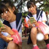 【Pcolle】学生カップル、彼女の座りパンチラ丸見え盗撮!