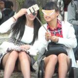 【Pcolle】私服JKダブル座りパンチラ!どっちのパンティが好き?www